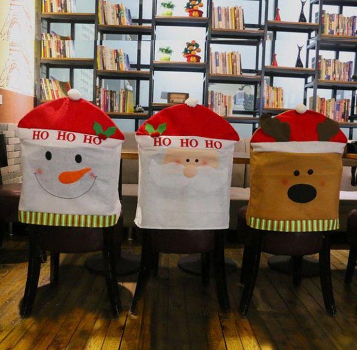 Hot!Christmas Party Home Decor Elk Snowman Santa Claus Kitchen Chair Covers