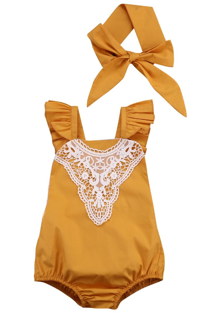 Cool Cotton Kids Baby Girl One-pieces Romper Sleeveless Jumpsuit Lace Sunsuit Outfits With Headband - $13.23 - Buy it Now!