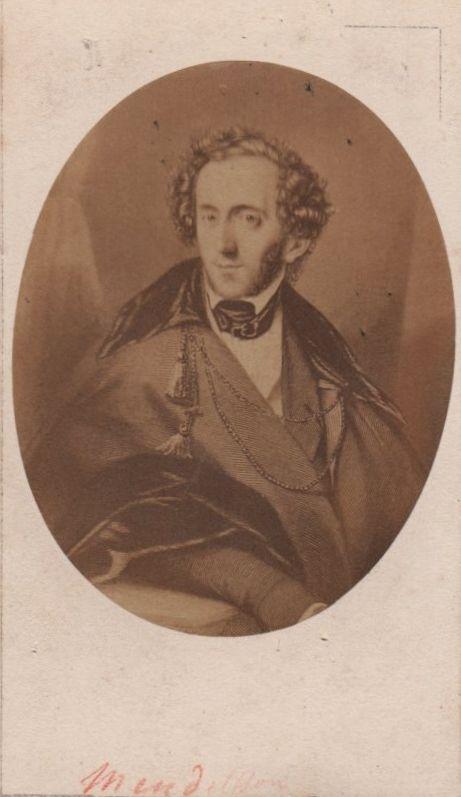 [MENDELSSOHN FELIX]: (1809-1847) German Composer & Pianist. Vintage unsigned sepia carte-de-visite photograph by Pierre Petit & Trinquart, Paris, the oval image depicting Mendelssohn in a half-length pose, from an engraving after Hildebrandt (c.1835).