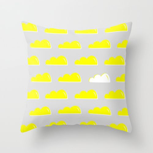 Simply Clouds in grey & yellow Throw Pillow by Agata Winer | Society6
