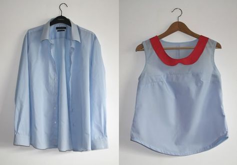 Refashioned men's shirt. DIY upcycle refashion. (Will have to use translator with the website, in French)