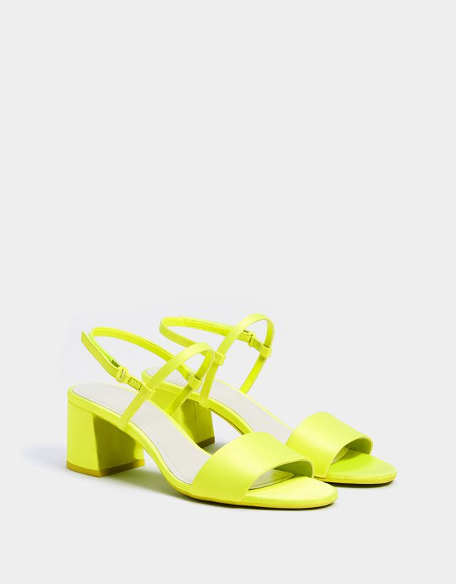 92a32a01ecf Neon mid-heel sandals - Bershka #fashion #product #shoes #zapatos ...