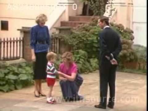 Prince William's 1st day at school  Prince Charles and Princess Diana escort three year old Prince William to Chepstow Villas for his first day at nursery school. 24.9.85