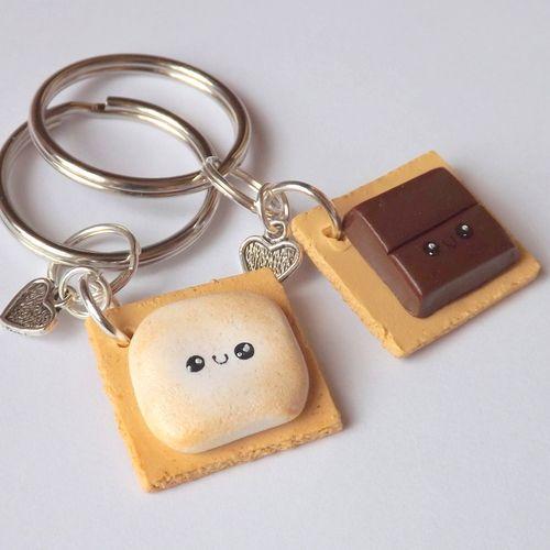 Best Friend Smores Keychains - BFF - Polymer Clay Keychains ...