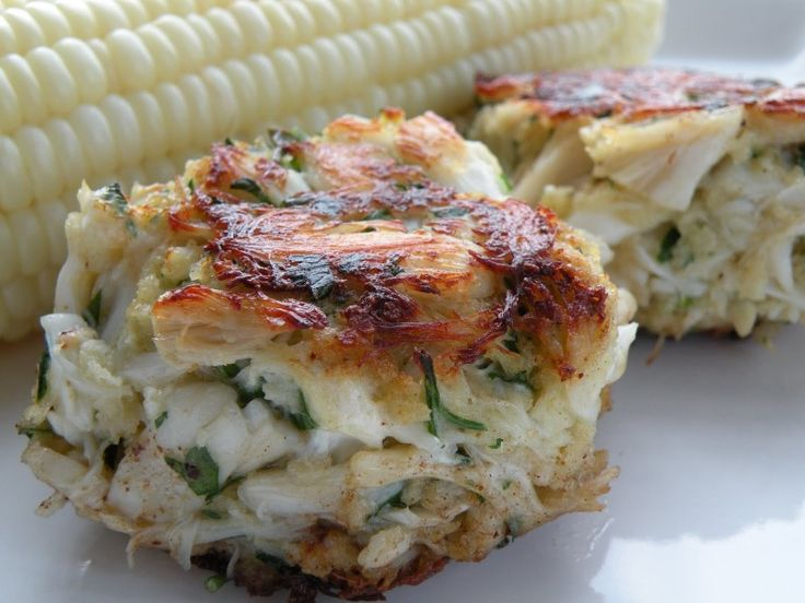 Pure and Simple Crab Cakes - mix all ingredients, chill for 1 hour, cook in skillet for 3-4 minutes each side, or bake at 400 for 15 minutes: 1 lb. crab meat, 1/2 c. panko, 1/4 c. chopped flat leaf parsley, 1/4 c. light mayo, 1 egg, 1/4 tsp old bay