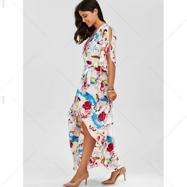 High Slit Flower Belted Beach Maxi Surplice Dress In White,L | Twinkledeals.com