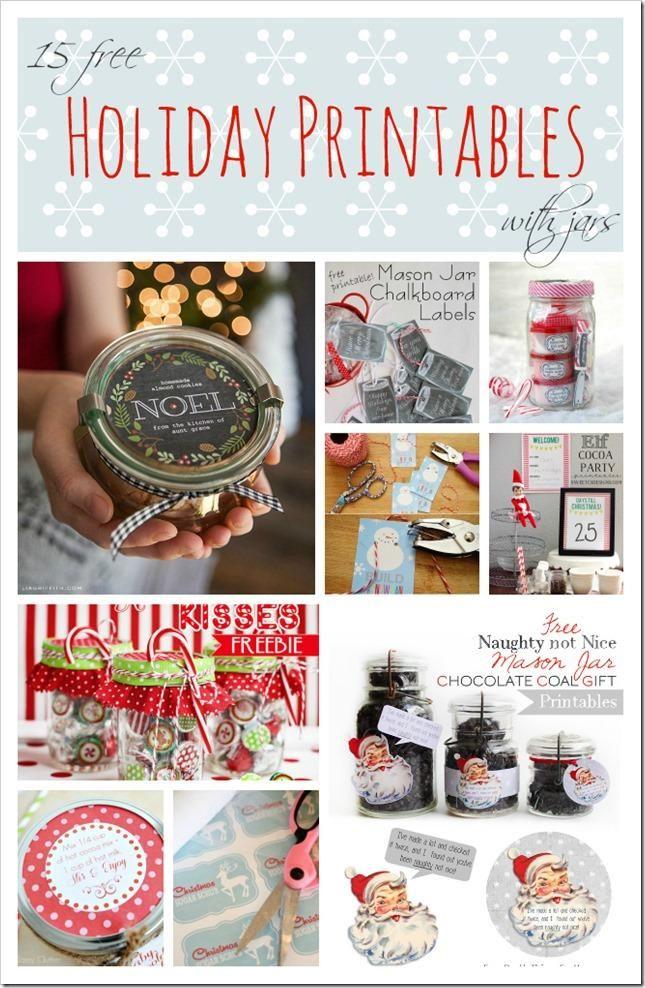 Holiday free printables for mason jars