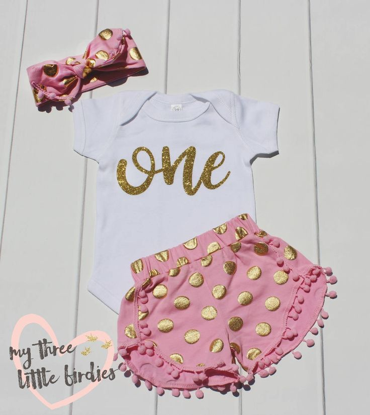 1st Birthday Shirt and Shorts Set,Girl First Birthday Outfit, 1st Birthday Onesie, Girl bodysuit, One, Gold Shorts, Gold and Pink Headband, by My3BirdiesShop on Etsy