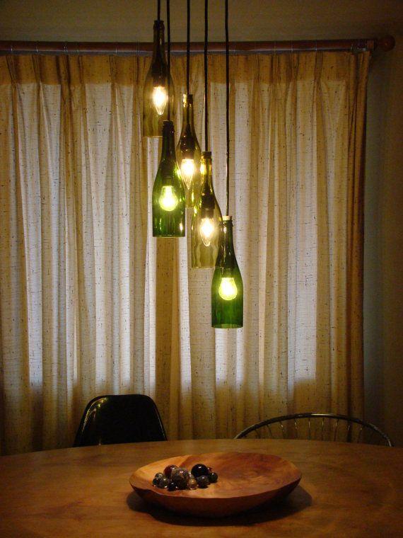 Upcycled Lighting #G2Bottle Cutter #bottleart #upcycle ·  FlaschenSelbstgemachtesWeinflasche KronleuchterFlaschenlampenKronleuchter  ...