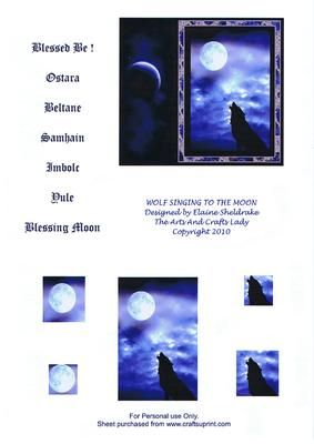 WOLF SINGING TO THE MOON OSTARA BELTANE SAMHAIN IMBOLC YULE  on Craftsuprint designed by Elaine Sheldrake - I have designed this card for the many Wiccans and Pagans who live by the Wiccan Crede's Rule of Three, Harm ye None and Blessed Be. The lone wolf singing to the moon has long been a symbol to Pagans all over the world and especially to Native Americans. I have given a selection of sentiments for you to choose from. Very easy to make, simply stack the two corner pyramids using either…