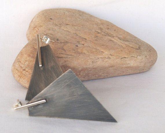 Minimal stud earrings, Oxidized silver earrings, Geometrical stud earrings