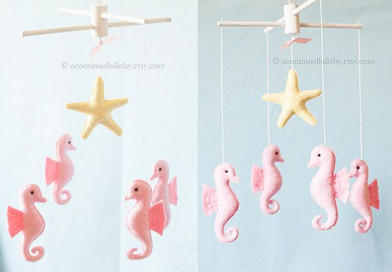 Pink Seahorse Starfish Baby Mobile Baby Girl by AContinualLullaby