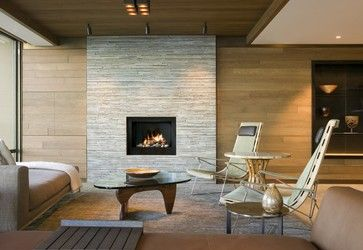 Living Room - contemporary - Fireplace using cream stone pencil tile