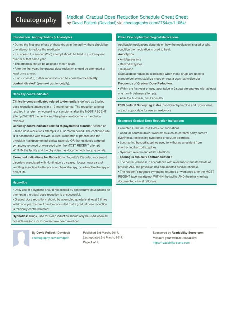 Medical: Gradual Dose Reduction Schedule Cheat Sheet by Davidpol http://www.cheatography.com/davidpol/cheat-sheets/medical-gradual-dose-reduction-schedule/ #cheatsheet #reduction #medical #snf #healthcare #dug #antispychotics #anxioytes