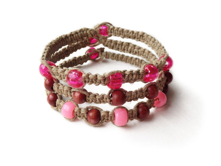BUBBLE MY GUM: Natural Hemp Cord with Pink Seed Beads