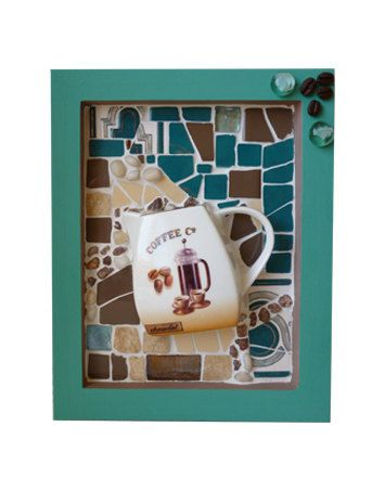 items similar to mosaic wall coffee decor art kitchen brown teal themed coffee lovers gift home decor coffee cup cafe decor ceramic tile mosaic wall hanging