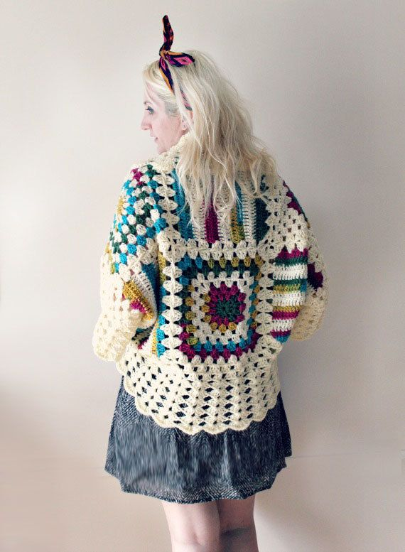 Afghan Crochet Cardigan-Cream