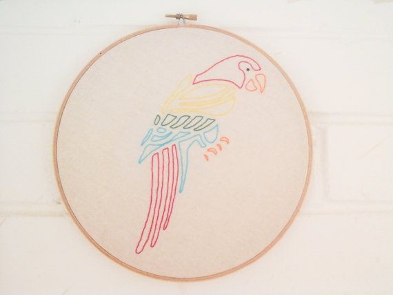 Parrot embroidery wall hanging by WhistlingTeapot on Etsy, $55.00