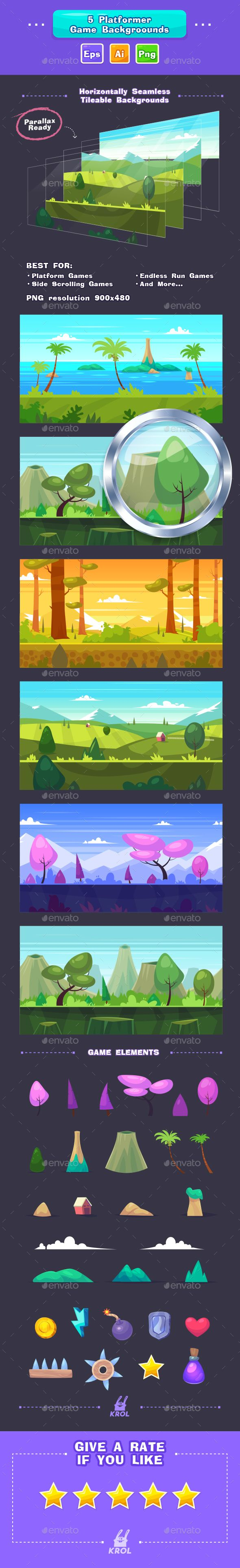5 Game Seamless Backgrounds — Vector EPS #horizontal #loop • Available here → https://graphicriver.net/item/5-game-seamless-backgrounds/17329086?ref=pxcr