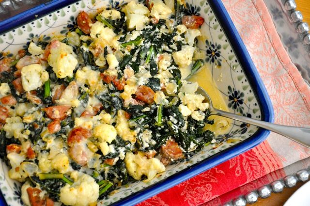 Chicken Sausage, Cauliflower and Kale Casserole | Real Healthy Recipes.  I just made this for dinner and it's delicious!