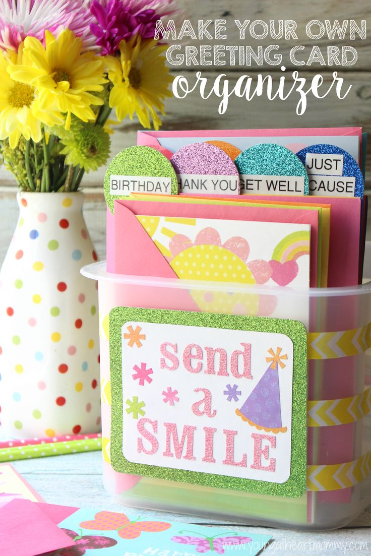 DIY Greeting Card Organizer #SendSmiles #Ad #Cbias