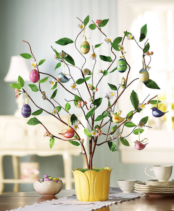 Easter Tree Egg Bird Decoration Ceramic Tulip Pot Remove Eggs Display All Spring