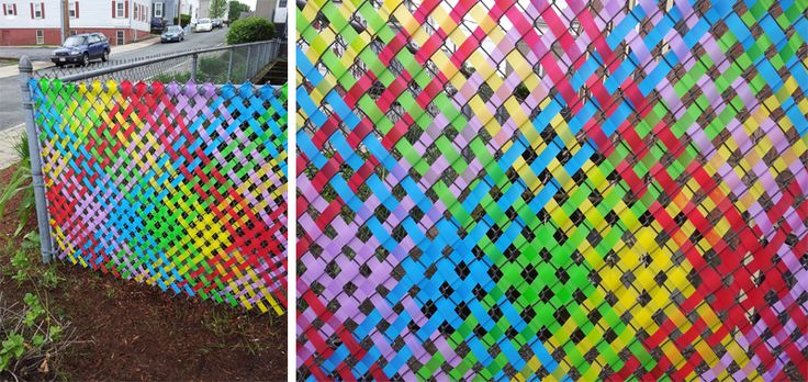 Weaving ribbon/tape into chain-link #fence