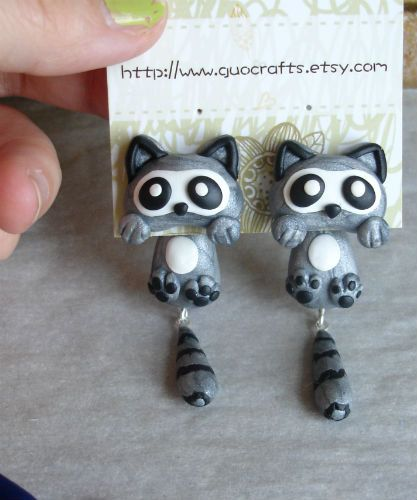 The Original Raccoon Ear Studs / Made to order di GUOCRAFTS