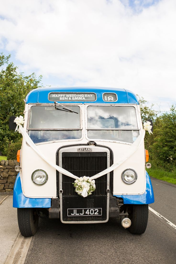 Vintage Wedding Bus - Natasha Cadman Photography | At Home Marquee Wedding with White & Green Flowers