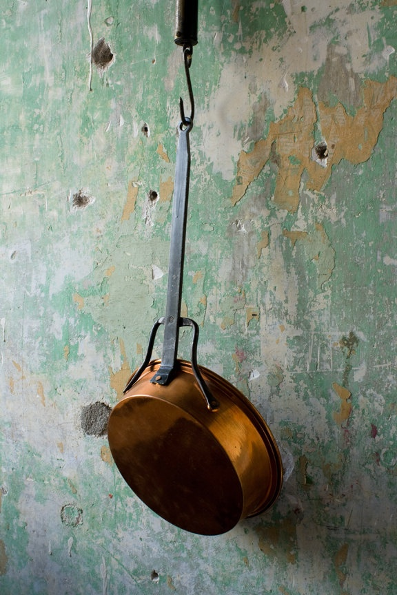 Vintage Copper Saute Pan, Primitive Rustic Skillet Sauce Pan, Wrought Iron Handle, Farmhouse Country Display Wall Hanging. $62.00, via Etsy.