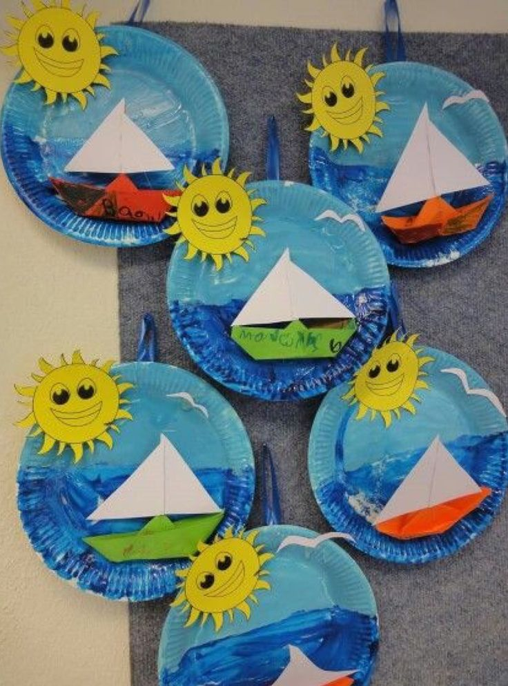 Paper plate Summer Pictures Boat Sailing Sun