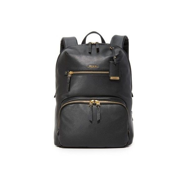 Tumi Halle Backpack (7,490 MXN) ❤ liked on Polyvore featuring bags, backpacks, black, studded backpack, leather knapsack, logo backpacks, leather bags and tumi