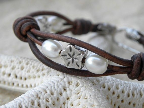 Leather. Pearls and Silver Flower Bracelet by TANGRA2009 on Etsy