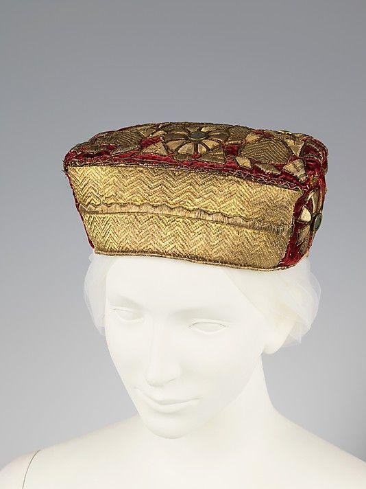 Hat Date: late 19th century Culture: Russian Medium: metal, silk, glass Dimensions: 4 x 7 1/2 in. (10.2 x 19.1 cm)