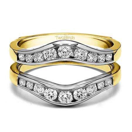 10k Solid Gold Brilliant Moissanite Graduated Contour Style Ring Guard 0 62ctw Women S Size 7 Ring Guard Silver Engagement Rings Sterling Silver Wedding Rings