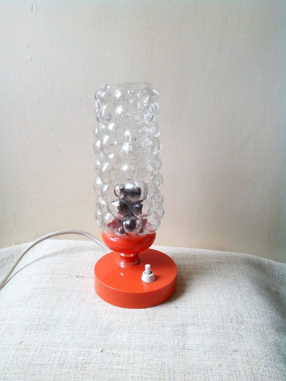 Mid century orange Table Lamp bubble Glass Shade Bedside