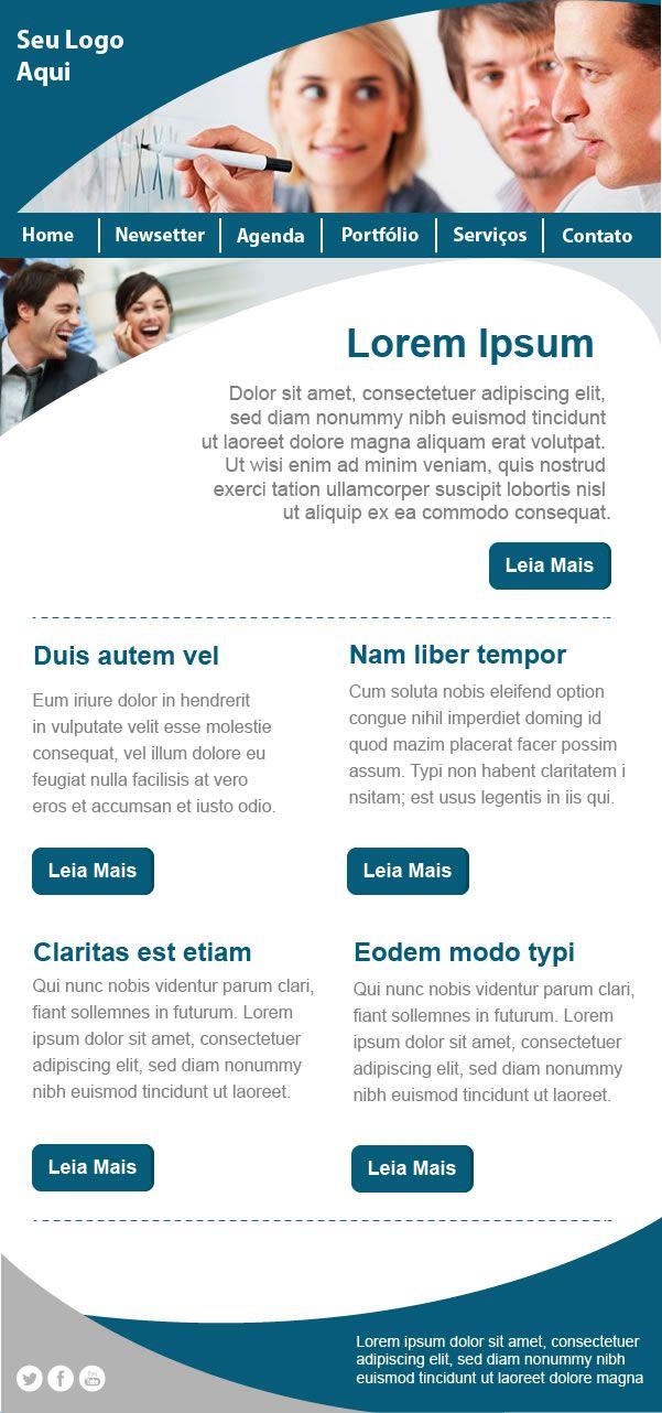 Template GRÁTIS: recomendado para envio de newsletters com as novidades de seu site, blog, portal de notícias, etc. #templateemailmarketing #emailmarketing #templategratis