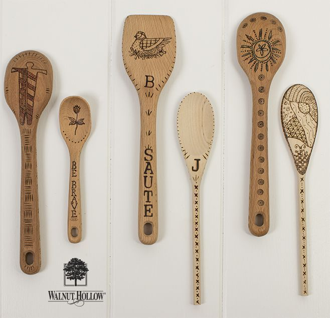 Wood burned spoons from Walnut Hollow