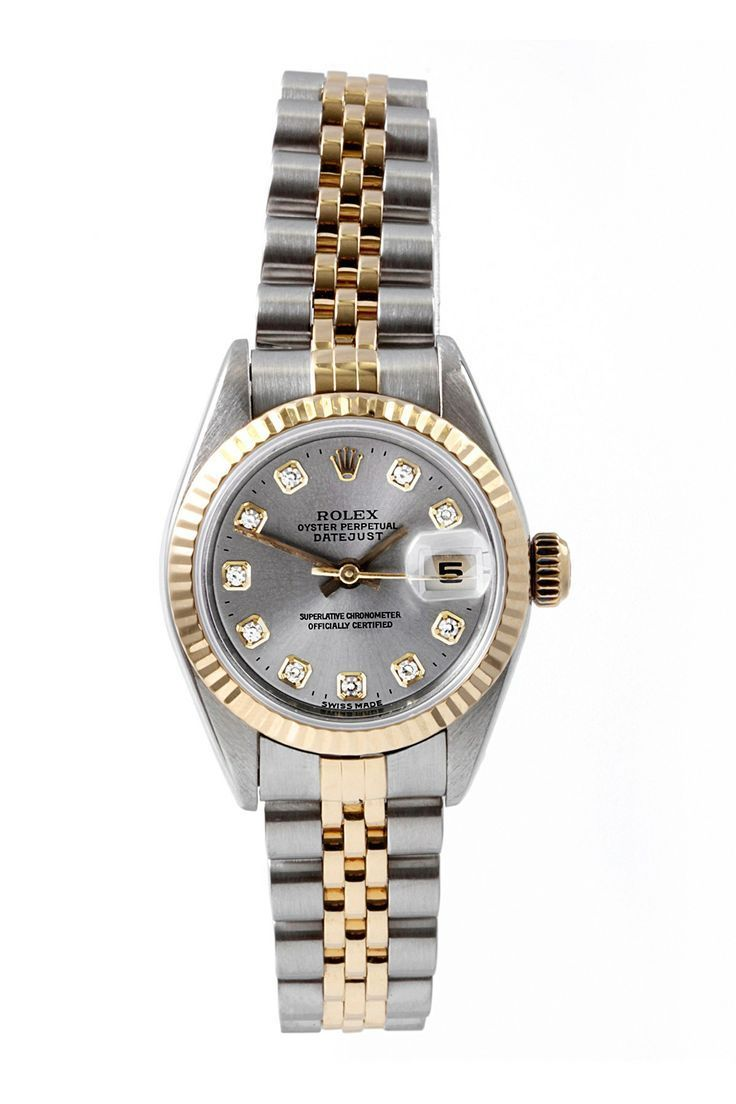 86d8d647e25 Vintage Rolex Women's Date-just Stainless Steel Watch - womens watches  large face, best womens gold watches, steel watches for womens