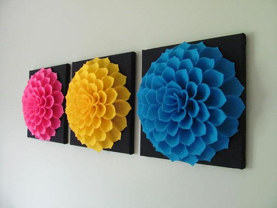 Felt Flower Wall Art Pattern SOPHIA FLOWER Fabric por SewYouCanToo