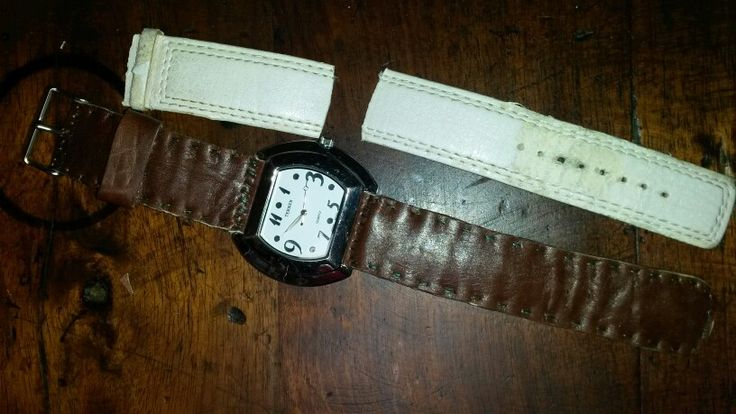 Old watch $5. Cut off band and sewed and glued my own custom leather band. Nice.