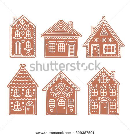 Gingerbread House Set Of Vector Hand Drawn Gingerbread Houses Christmas Cookies Cardboard Gingerbread House Christmas Gingerbread Gingerbread House Designs