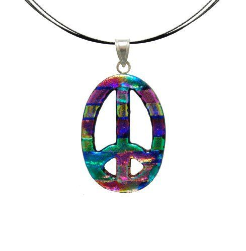 """Sterling Silver 925 Dichroic Glass Multi Peace Sign on Stainless Steel Wire Pendant Necklace, 18"""" Amazon Curated Collection. $19.00. Made in Mexico"""