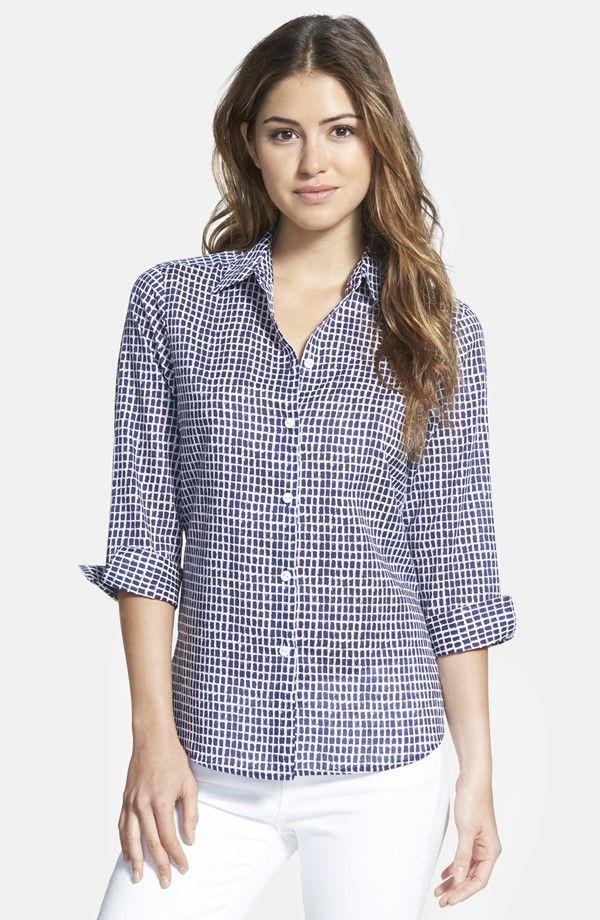 'Distressed Tile' Print Cotton Shirt Foxcroft