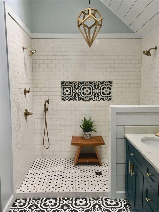 my master bath remodel large dual head shower white subway tile rh pinterest com