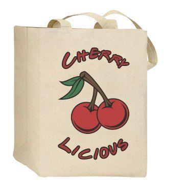 Cherrylicious (Eco Friendly Bag) SarahBe Designs. #customizedgirl #cherry #food #bags #ecofashion
