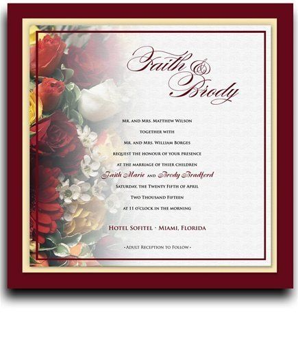 165 Square Wedding Invitations - Rose Red Breath by WeddingPaperMasters.com. $432.30. Now you can have it all! We have created, at incredible prices & outstanding quality, more than 300 gorgeous collections consisting of over 6000 beautiful pieces that are perfectly coordinated together to capture your vision without compromise. No more mixing and matching or having to compromise your look. We can provide you with one piece or an entire collection in a one stop shopping exp...