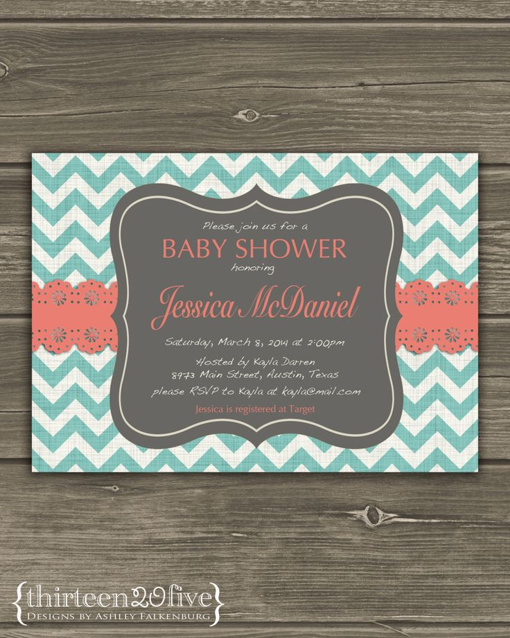 baby shower invitation for twins%0A Teal Chevron Baby Shower Invitation Coral Lace by Thirteen  Five