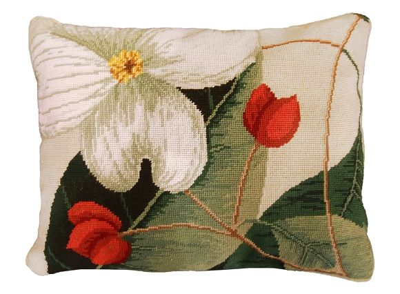 "NCU-413 Dogwood 16""x20"" Needlepoint Pillow"