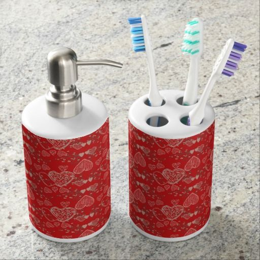 Charming red grey cherry blossoms hearts pattern soap dispenser & toothbrush holder